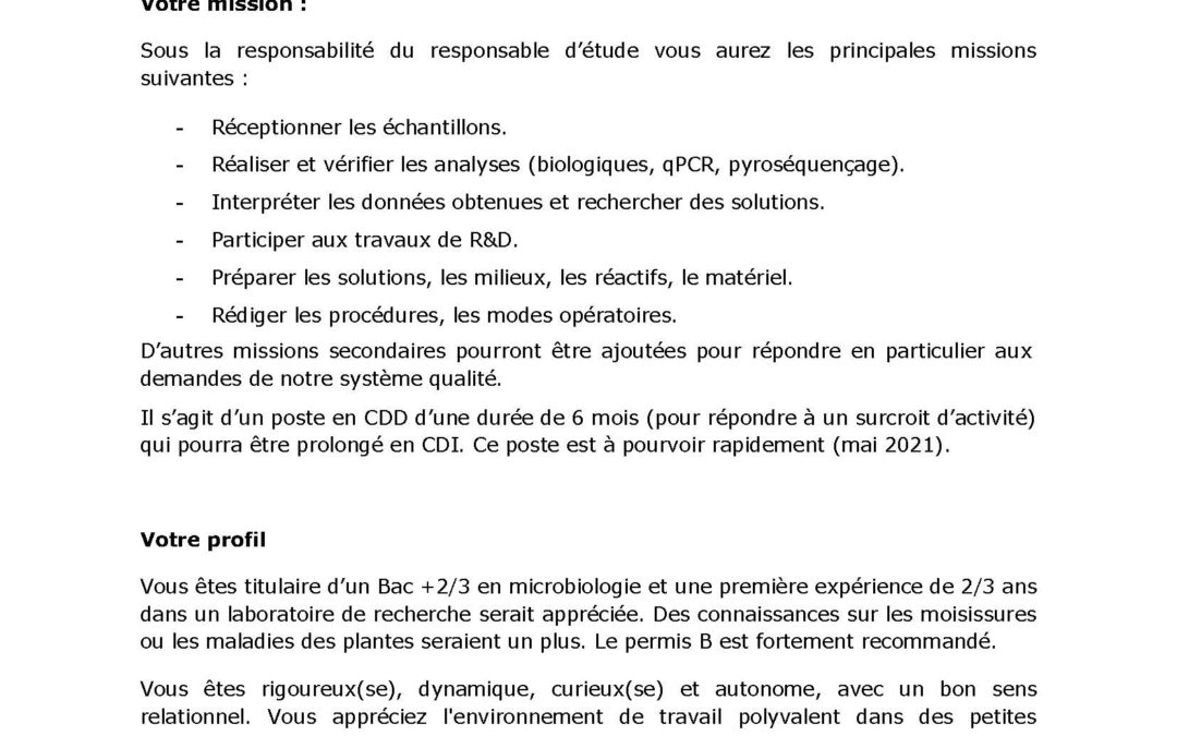 Offre d'emploi – Coniphy